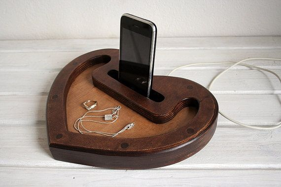 iPhone wooden docking station.Natural wood by eagleinwood on Etsy