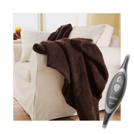 "Sunbeam Oversized Sherpa Heated Electric Throw Blanket with EliteStyle Control - Walmart.com   60"" x 70"". In walnut  $$ 54.95"