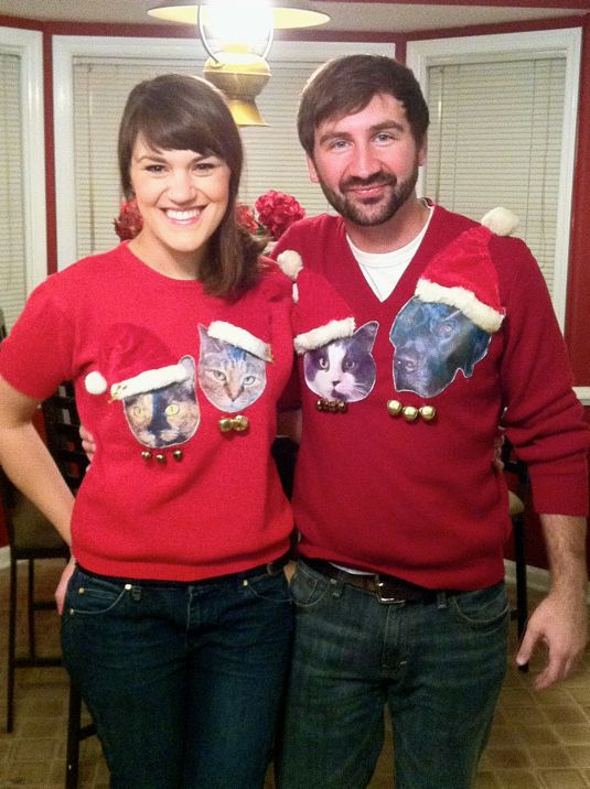 Sally Ann: DIY Tacky Holiday Sweaters WITH CATS! And a dog.