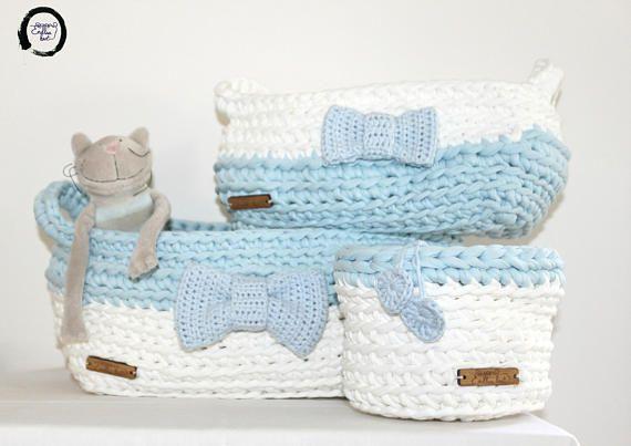 Baby boy nursery decor White & Baby blue 3 basket sets