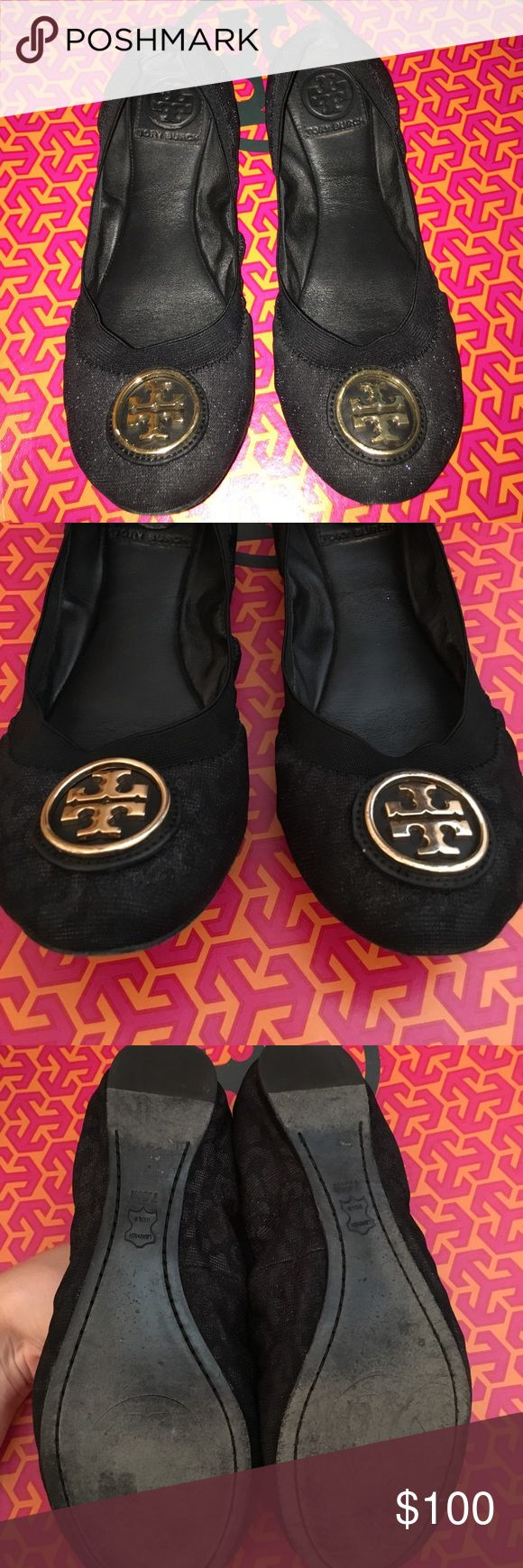 Tory Burch Flats Great flat, black & shiny threaded fabric with a subtle cheetah print. So cute! Adds some fun, but are definitely office appropriate. Minor scuffs on emblem, unnoticeable. These are 7.5, just a tad tight on me as I'm an 8 :( No box, sorry! Tory Burch Shoes Flats & Loafers