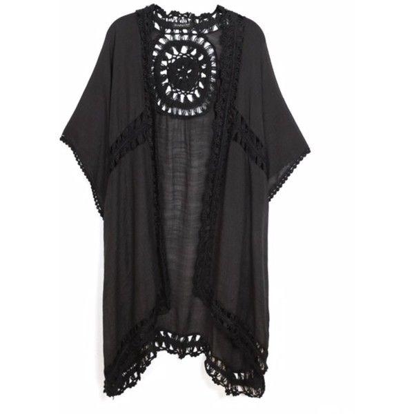 KW Fashion Crochet Kimono Coverup (£53) ❤ liked on Polyvore featuring swimwear, cover-ups, crochet bathing suit, crochet cover up, beach cover up, crochet swim cover up and bathing suit cover ups