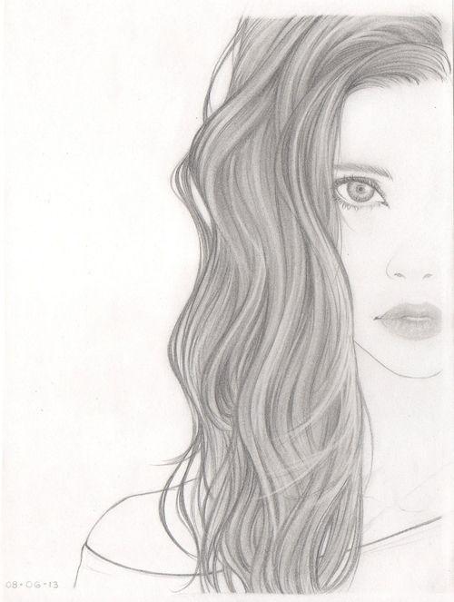 Tumblr Girl Hair Drawing | Girl With Curly Hair Tumblr Drawing Girl, drawing, hair,
