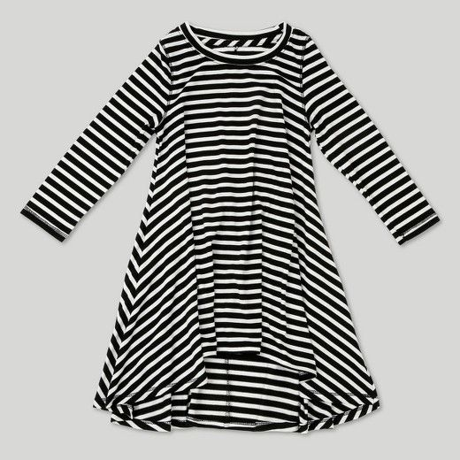 Making cute fall outfits for your little one is easy with this A-Line Dress from Afton Street. This fun black and white striped dress will pair great with any color of tights or leggings, opening up countless possibilities for outfit options. She'll look darling dressed in this long-sleeve dress with a puffy vest and boots for a family trip to the pumpkin patch, or with bright red tights, black Mary Janes and a sparkly headband for a holiday party. With a loose fit and made of breathable ...