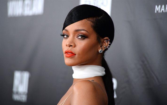 Download imagens Rihanna, 4k, retrato, superstars, cantora norte-americana, morena, beleza
