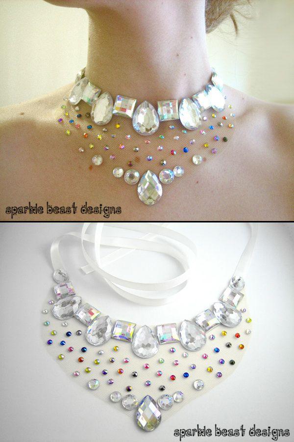 Rainbow Rhinestone Floating Illusion Statement Necklace by Sparkle Beast Designs