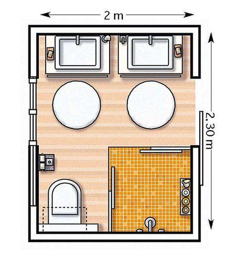 Plano con ducha cuadrada y dos lavabos