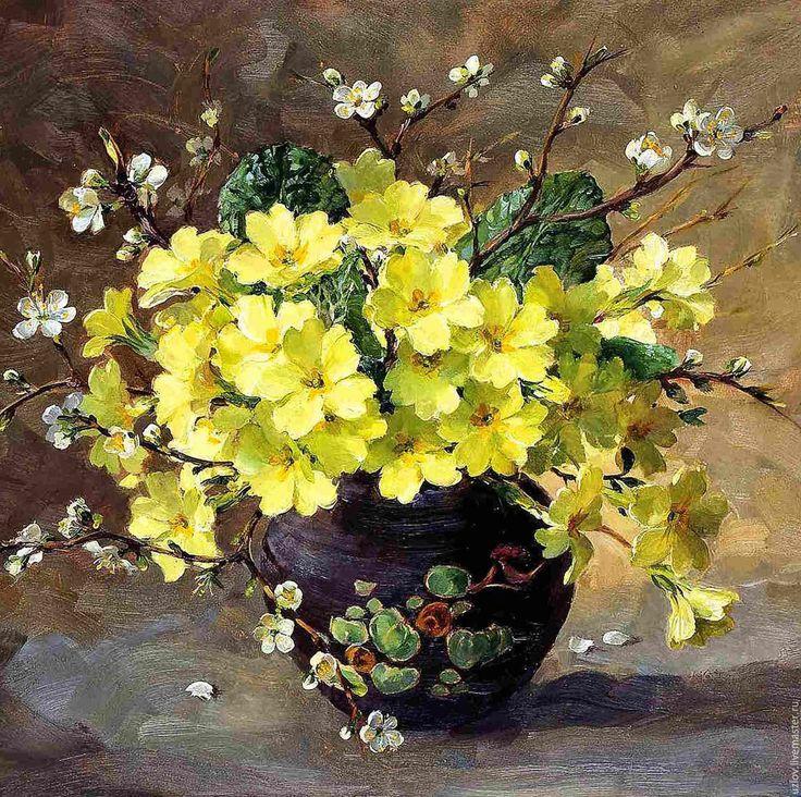 """Купить Картина маслом """"Привет лето"""" 40-30см - желтый, картина на холсте, картина с цветами"""