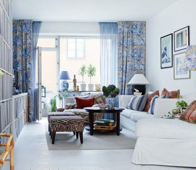 salon cortinas diseo azul motivos bonitos taburetes zebra