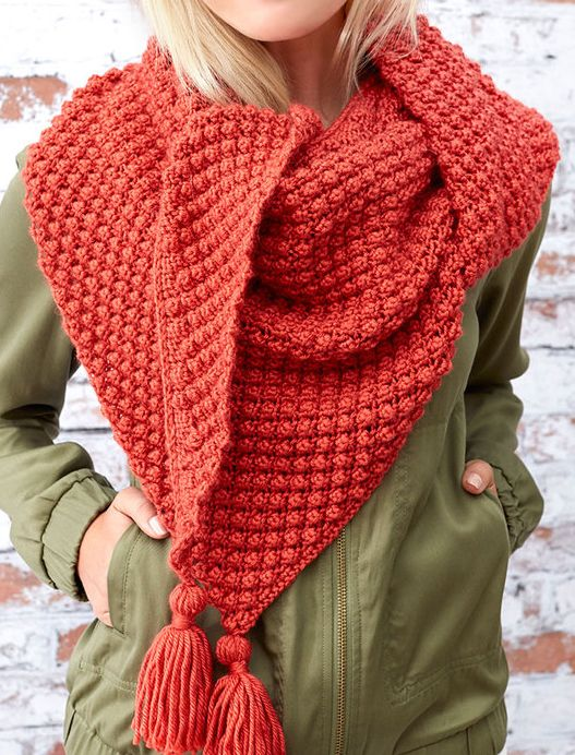 "Free Knitting Pattern for Easy 4 Row Repeat Fall Berries Shawl - This easy child's cardigan is knit in a 4-row repeat bramble stitch. Shawl measures 63"" [160 cm] wide x 23"" [58.5 cm] deep. Designed by Ann Weaver for Red Heart who rated it easy"