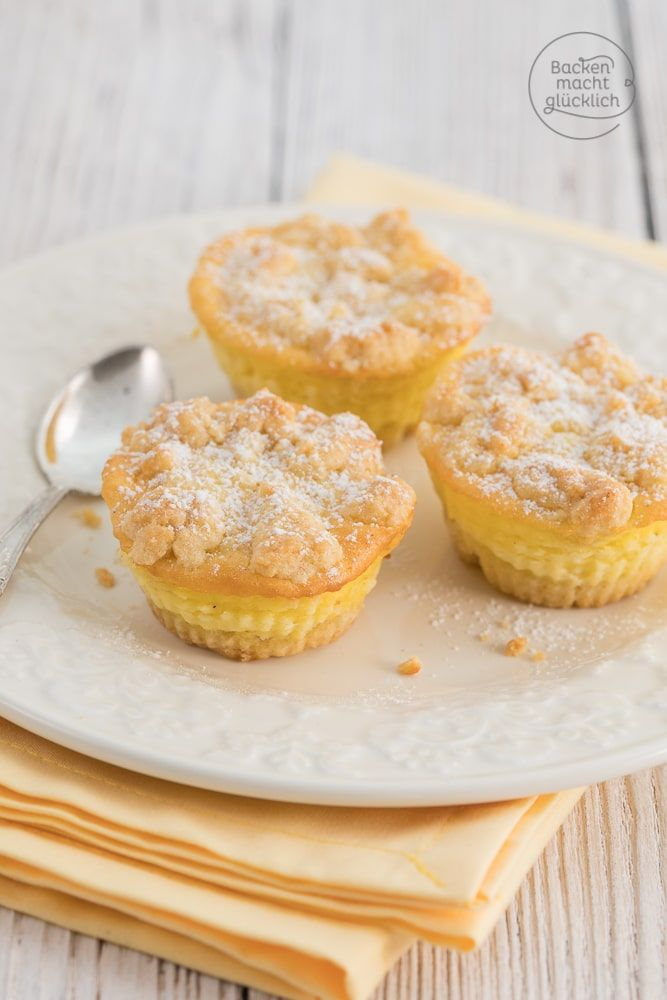 Käsekuchen-Muffins | Rezept | Kaesekuchen, Streusel und Muffins