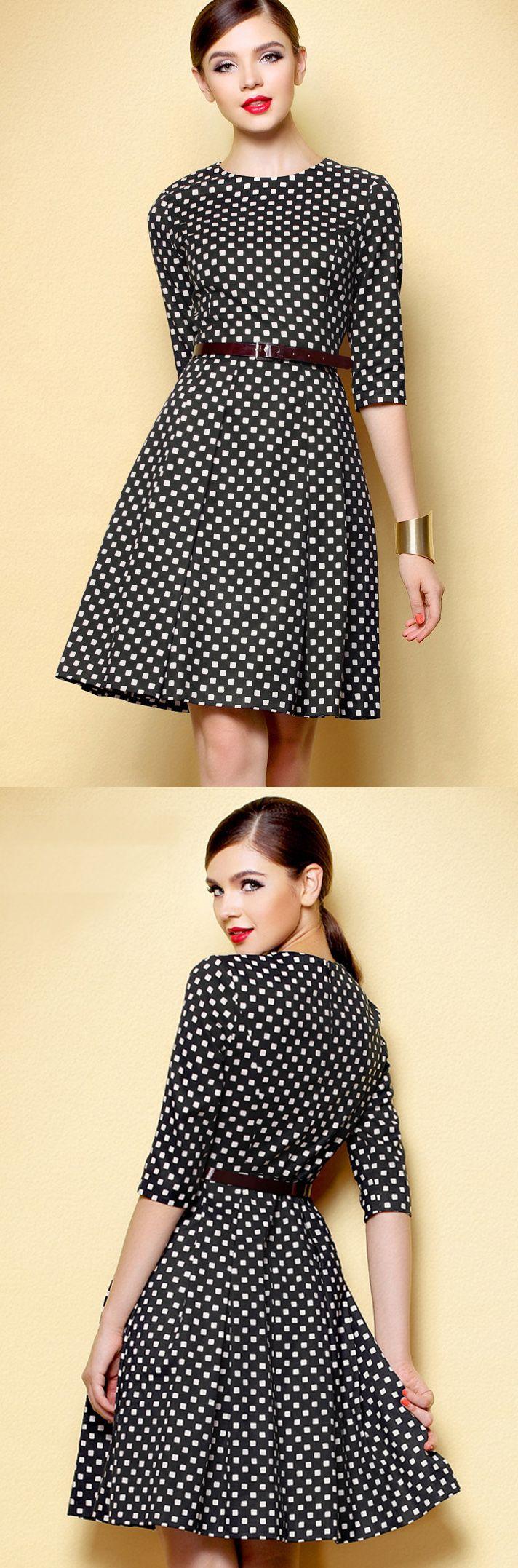 Black White Plaid Dress