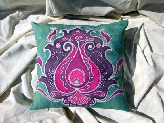 Mint&Magenta Floral Motif Hand Painted Batik by BataviaDesign