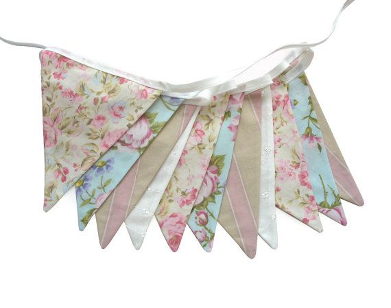Vintage Style Pretty Pastel Floral Pink, Blue  Ivory, Flag Bunting. Kitchen Tea Party, Wedding etc on Etsy, $27.38