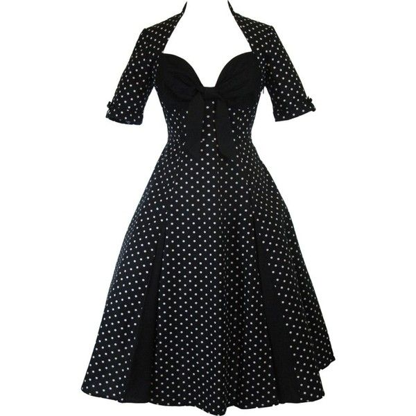 Skelapparel Plus Size 50's Retro Design Polka Dot Party Swing Dress ($70) ❤ liked on Polyvore featuring dresses, polka dot, night out dresses, plus size holiday party dresses, plus size party dresses, trapeze dress y tent dress
