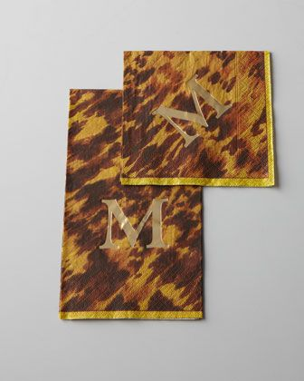 I freaking love these!   Caspari Monogrammed Tortoise-Print Guest Towels & Napkins - Horchow