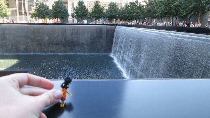 The Little Traveller visiting the 9/11 memorial site - very sad