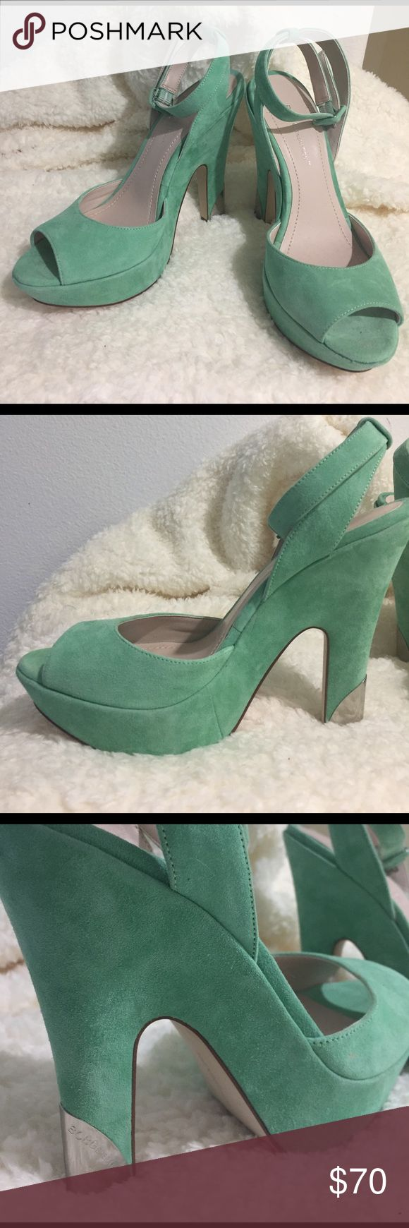 BCBGeneration mint wedges. NWOT. NWOT Mint Greene, suede, wedges with silver accents on the heel and BCBGeneration logo in fine detail. Peep toe heel with ankle strap. Been sitting in my closet for two years, (mint looks terrible on my skin tone), tread shows no wear! Seeking fashionable home! BCBGeneration Shoes Wedges