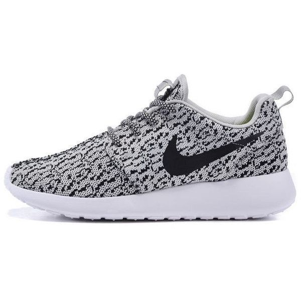 Custom Nike Roshe Run One Yeezy 350 Athletic Running Women Shoes as Is... found on Polyvore featuring shoes, sneakers, nike, silver, sneakers & athletic shoes, tie sneakers, women's shoes, floral print shoes, silver flat shoes and gray shoes