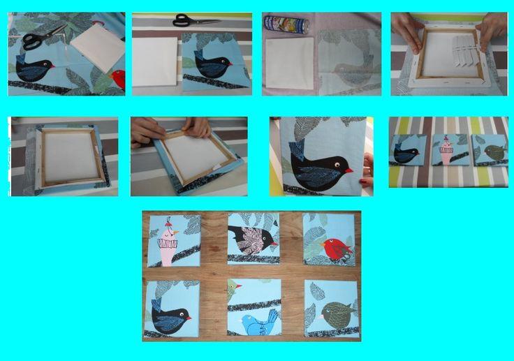 Canvassen overtrekken met een leuk stofje  * Je kan de canvassen omhoog hangen als DECORATIE of  *Je kan de canvas gebruiken als JUWELENHOUDER:  - Je kan onderaan de canvas open oogvijsjes monteren. Op deze manier kan je je halskettingen aan de canvas hangen.  Gemaakt door Sofie en Jana