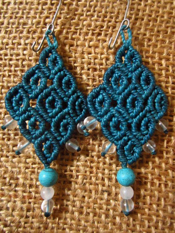 macrame - handmade earings & semiprecious gemstones