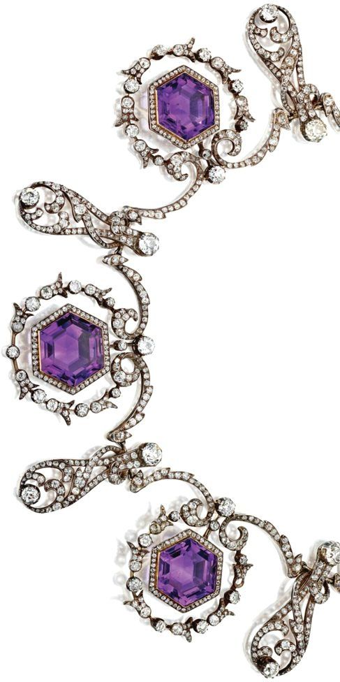 AMETHYST AND DIAMOND NECKLACE, CIRCA 1900 The foliate garlands decorated with 5 hexagonal amethysts set as swing centers within circular wreaths, alternating with pear-shaped scrolls, set with 13 old European-cut diamonds weighing approximately 8.50 carats, 69 old European-cut diamonds weighing approximately 10.00 carats and numerous smaller old-mine and rose-cut diamonds weighing approximately 5.00 carats, mounted in silver and gold, length 17 inches, 4 diamonds missing. by hester