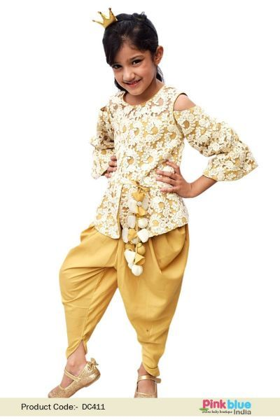 9bb9752c4 Stylish Girls Indo western Dress - Kids Festival Wear Online - Baby Peplum  top with Dhoti style pant - Designer Children Clothes for Weddings &  Special ...