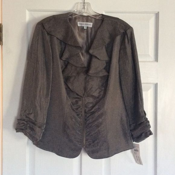 Donna Degnan after 5 NWT! Donna Degnan after 5 gray metallic zip up jacket. Ruffle front with 3/4 scrunch sleeves. New with tags!! This is a gorgeous jacket! Made in New York. Donna Degnan Jackets & Coats Blazers