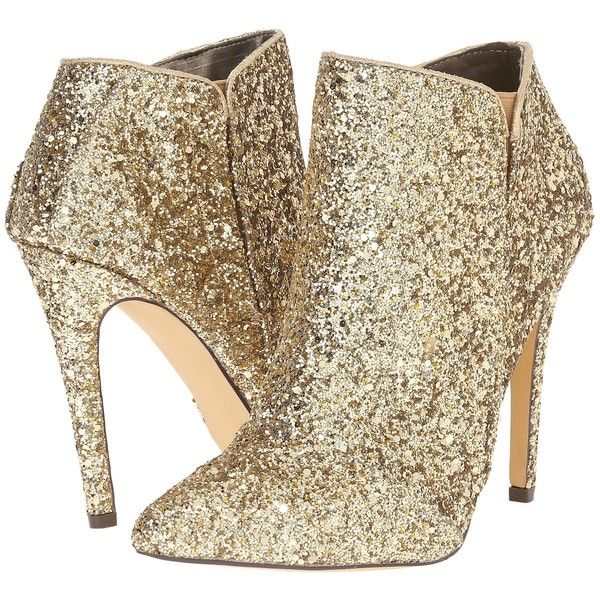 Michael Antonio Leighty - Glitter Women's Pull-on Boots, Gold (€33) ❤ liked on Polyvore featuring shoes, boots, ankle booties, ankle boots, gold, high heels stilettos, stiletto ankle boots, gold boots, slip on ankle boots and short boots