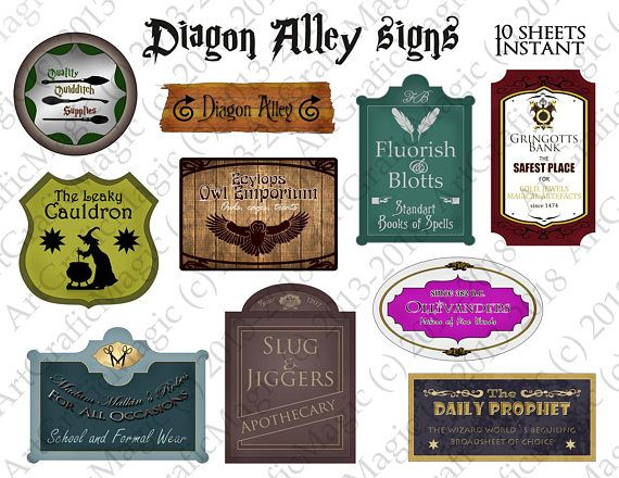 graphic regarding Escape Room Signs Printable called Diagon Alley Signs and symptoms Printable - Harry Potter Social gathering - Wizard