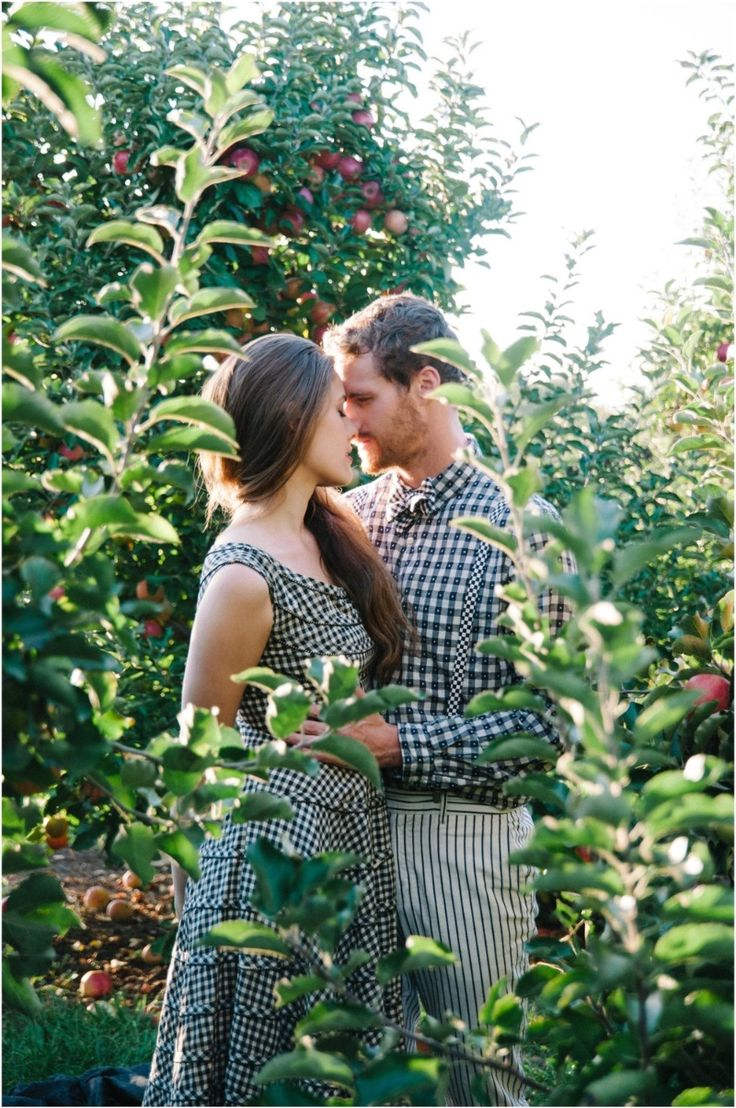 This apple orchard engagement session is delicious romance! Photo by Tulip + Rose Photography See more here: https://tulipandrose.squarespace.com/home/#/jared-leah-1/