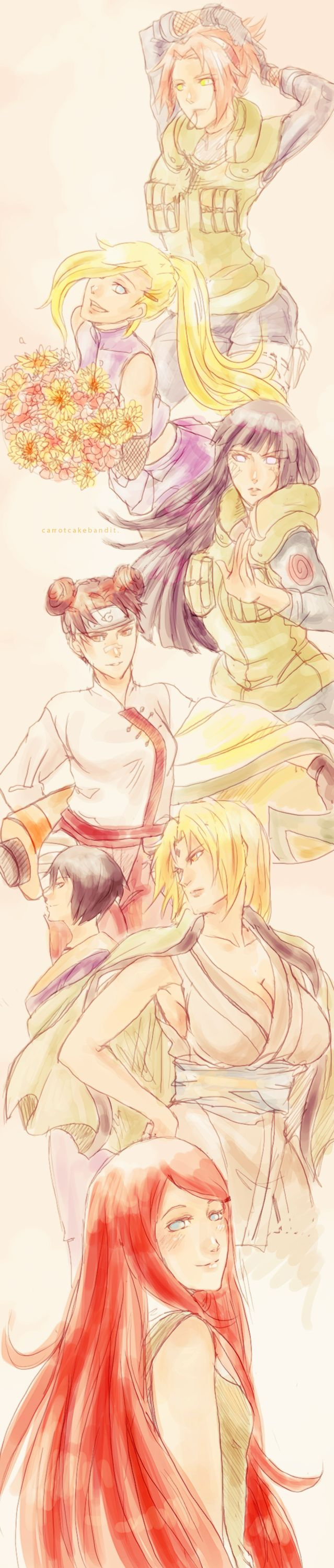 When you find a good illustration   Naruto girls - by Carrotcakebandit on tumblr