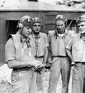 "Colonel Gregory ""Pappy"" Boyington, Marine Corps Ace credited with the destruction of 28 Japanese aircraft, was awarded the Medal of Honor ""for extraordinary heroism above and beyond the call of duty"" while in command of a Marine Fighting Squadron in the Central Solomons Area from 12 September 1943 to 3 January 1944. He was shot down over Rabaul on the latter date, and his capture by the Japanese was followed by 20 months as a prisoner of war."