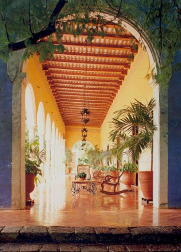 """""""Mexican haciendas express a rugged, romantic beauty with their arcaded silhouettes, rich colors, and natural materials."""""""
