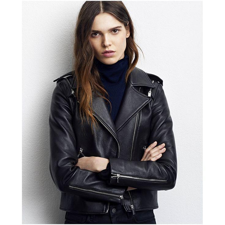 Comptoir des cotonniers blouson biker femme cuir noir - Blouson cuir comptoir des cotonniers ...