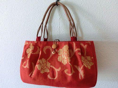 紬織りの帯 リメイクバッグ - hajicco+