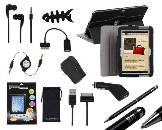 Amazon.com: Bundle Monster 11in1 Accessories Set for Samsung Galaxy Note 10.1 N8000 - Case, COLOR: BLACK, Stylus, Wall + Car Charger, USB Co...
