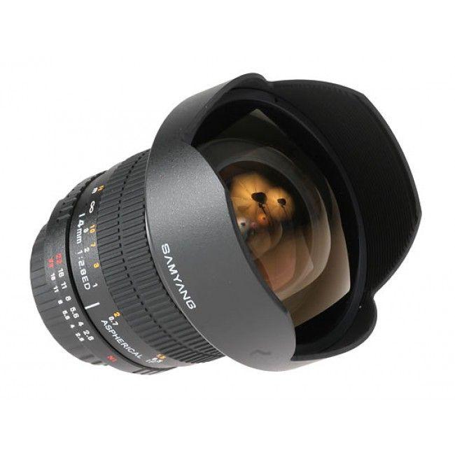 Objetivo Samyang 14mm f/2.8 IF ED UMC Aspherical Súper Gran Angular Canon SKU: DI2761  329,99€ Para cámaras con sensor APS-C y Full-Frame Muy luminoso: apertura máxima de diafragma f/2.8 Ideal para fotografía nocturna, paisaje, arquitectura... Gran ángulo de visión de 115.7º