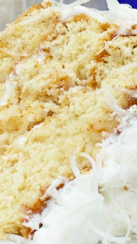 Fresh Coconut Cake with Lemon Cream Cheese Filling Recipe ~ moist ...