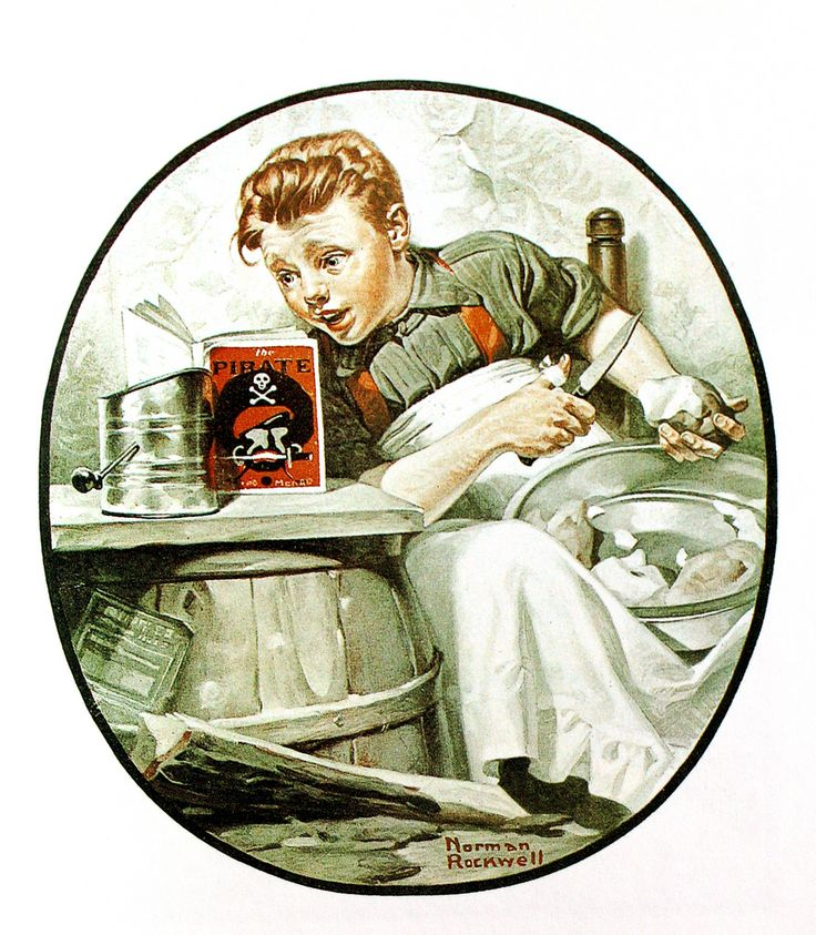 Norman Rockwell's artwork featuring books -- AbeBooks - American illustrator Norman Rockwell produced thousands of illustrations during his long career. - On the High Seas Saturday Evening Post January 29 1921 -   Flickr - Photo Sharing!