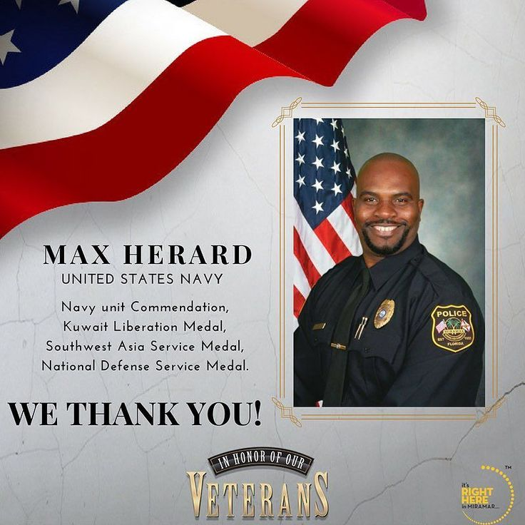 Detective Maxime Herard proudly served in the U.S. Navy and received a number of accolades including Navy Unit Commendation Kuwait Liberation Medal Southwest Asia Service Medal and National Defense Service Medal.  Detective Herard has been employed with theMiramar Police Department (Official)  for over two decades and has called Miramar home for close to 20 years. Thank you for your service!  Be sure to join us in celebrating Detective Herard and all of our Veterans during the Veterans Day…