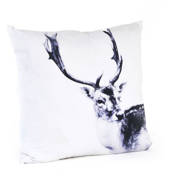 Saro Deer Design 20-inch Feather Filled Throw Pillow ($31) ❤ liked on Polyvore featuring home, home decor, throw pillows, white, contemporary home decor, white throw pillows, deer throw pillows, contemporary throw pillows and white accent pillows
