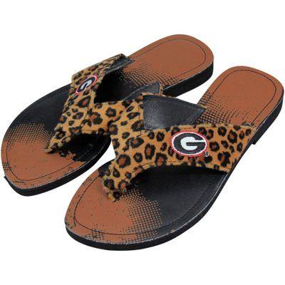 0bcc35cec4850d Georgia Bulldogs Women s Cheetah Strap Flip Flops