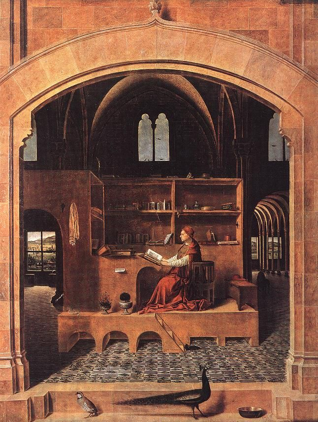 "St. Jerome in his Study Wood 1460 46 x 36.5 cm (18.11"" x 14.37"")"