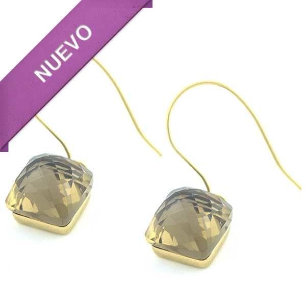 Joyas de Acero-Aros-EA0799. Aro acero dorado con cristal facetado, largo 3 cm