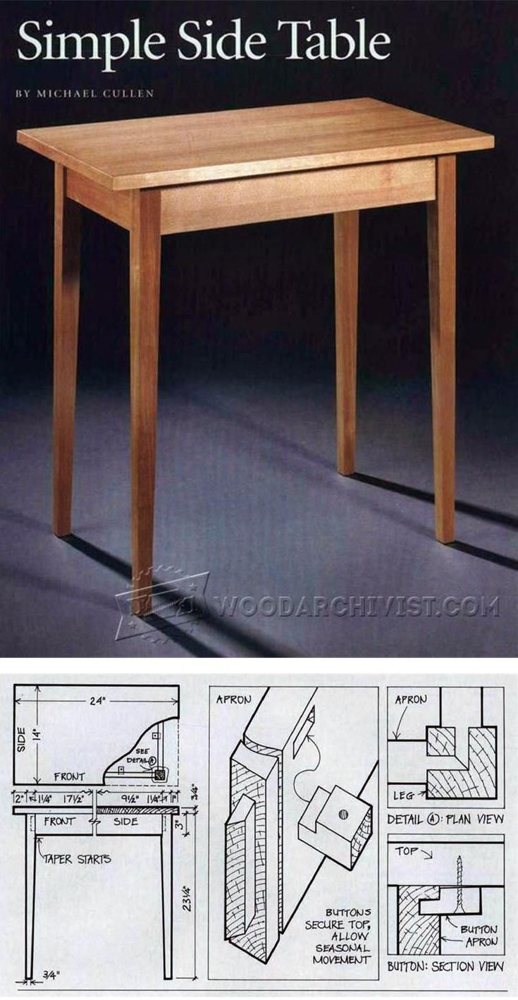 Simple Side Table Plans - Furniture Plans and Projects | WoodArchivist.com