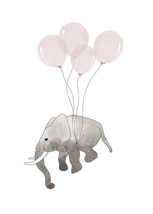Kids print with a baby elephant and balloons.