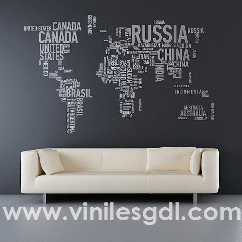 vinil decorativo mapa del mundo mapamundi en tipografía con letras