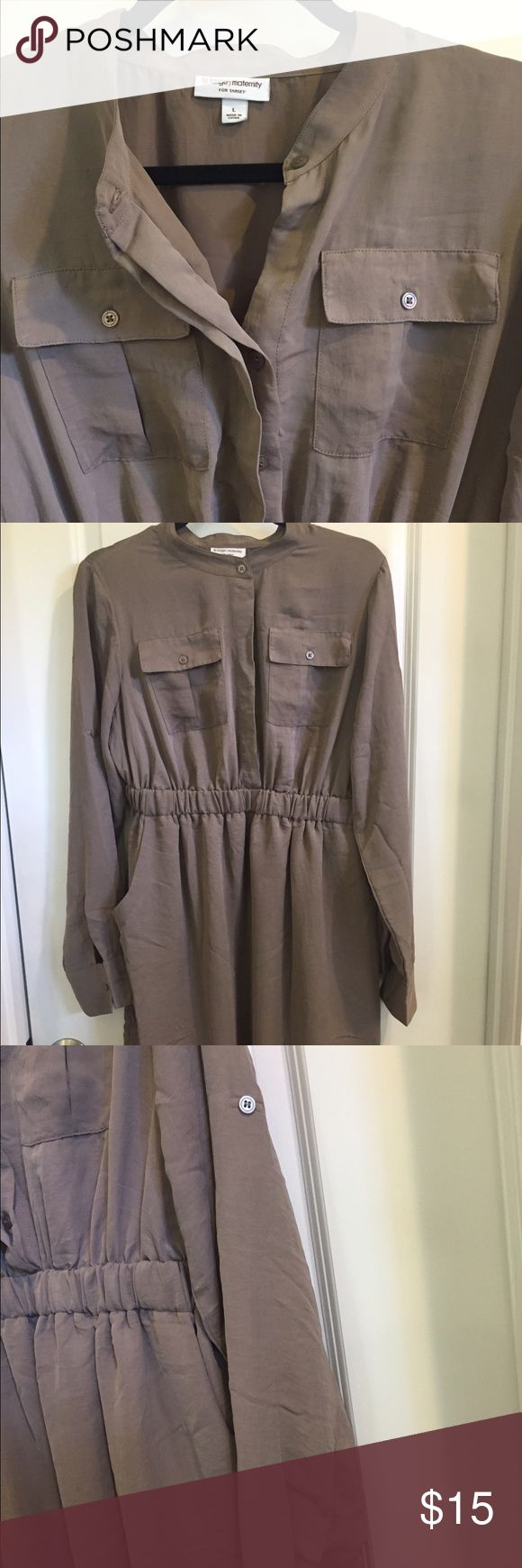 Maternity dress Great everyday dress. Maternity. Deep khaki color serves as a great neutral. Sleeves can be rolled and fastened to create a short sleeve. Dress hits just above knee length. Great belted or left without. Liz Lange for Target Dresses