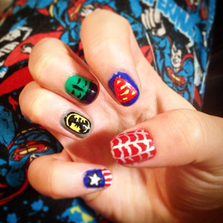 Superhero nail design.